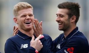 England's Sam Billings, left, and Mark Wood enjoy a nets session at the County Ground, Bristol in preparation for the visit of Ireland.