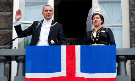 Iceland's President Gudni Johannesson, with wife Reid, after his inauguration in August following a successful anti-establishment election campaign.