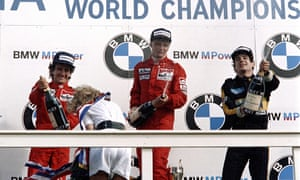 Niki Lauda (centre) celebrates winning the Dutch Grand Prix after a thrilling battle with Alain Prost (left) and Ayrton Senna.