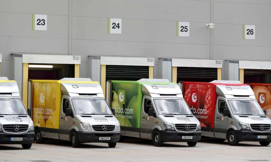 Ocado delivery vans lined up in Andover