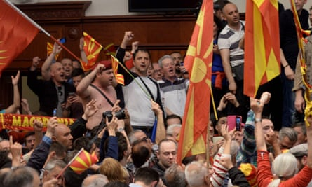Nationalist protesters in the Macedonian parliament in April.