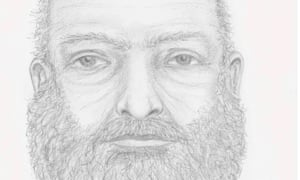 A sketch of an unidentified man found dead in British Columbia near the burned out vehicle of two missing teenagers.