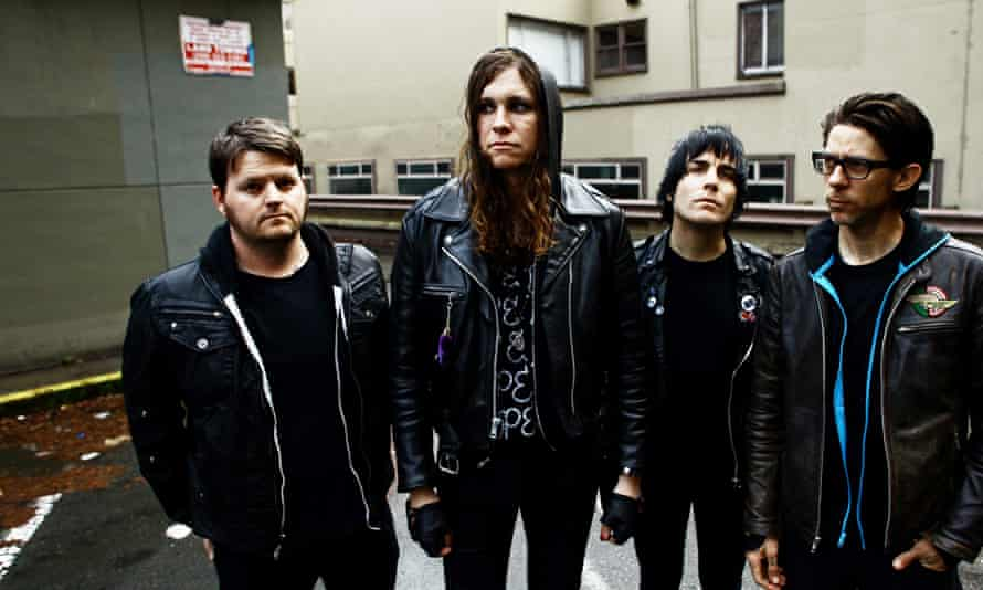 Laura Jane Grace, second from left, with the rest of Against Me!