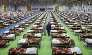 A temporary hospital for coronavirus patients at an exhibition centre in Tehran, Iran: 'As a result of US sanctions, Iran's ability to provide the health, logistical and other essential infrastructure necessary to combat the disease has been drastically reduced.'