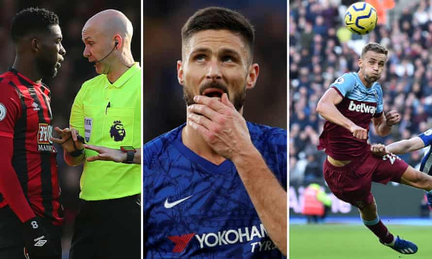 Jefferson Lerma of Bournemouth; Olivier Giroud of Chelsea; Tomas Soucek of West Ham