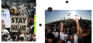 Left: Raiders fans protest a proposed move. Right: Oakland Raiders fans tailgate before a game against the San Diego Chargers