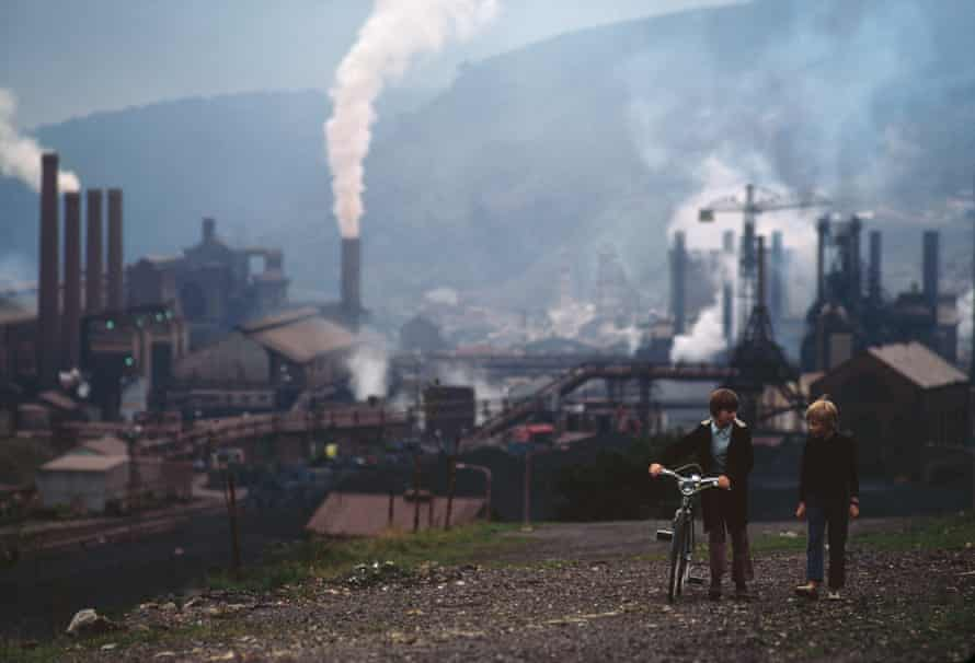 A steelworks in Wales, 1973. Born in Llanelli, John Downing sang in the London Welsh Male Voice Choir.