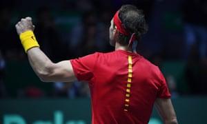 TENNIS-DAVIS-CAN-ESPSpain's Rafael Nadal celebrates after winning the Davis Cup for Spain.
