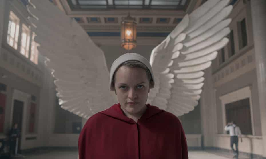 Remarkable ... Elisabeth Moss as Offred.