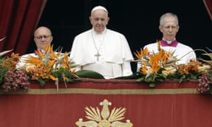 Pope Francis, delivers his 'Urbi et Orbi' ('to the city and the world') message, in St Peter's Square at the Vatican