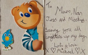 A card from Michael Sandford to his family (including the cat).