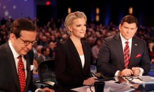 Fox News Channel anchors and debate moderators Chris Wallace, Megyn Kelly and Bret Baier in Des Moines, Iowa, on 26 January 2016.