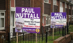 Campaign posters for Ukip's Paul Nuttall in Stoke Central.