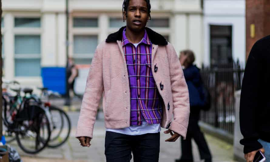 A$AP Rocky in 'teddy bear' jacket and purple plaid jacket at the JW Anderson show
