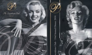 Images of Marilyn Monroe on the Presidents Club brochure.
