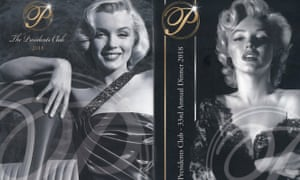 Images of Marilyn Monroe on the Presidents Club gala dinner brochure.