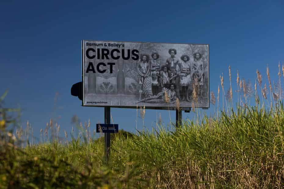 Circus Act notice board on the Bruce Highway, Toobanna.
