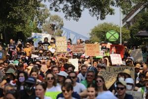Protesters denounce Australian prime minister Scott Morrison's holiday leave amid the bushfire crisis