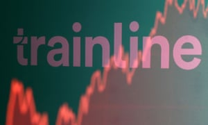 Trainline logo is reflected on screen displaying stock graph