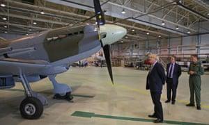Boris Johnson inspects a Spitfire at RAF Lossiemouth, Moray.