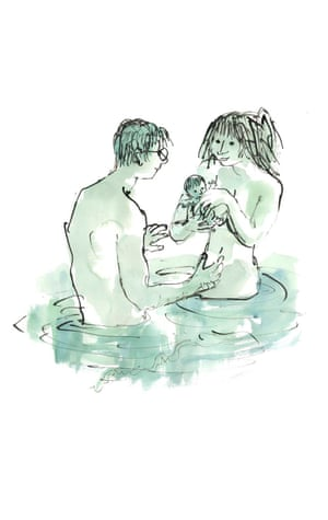 Woman, man and baby in water