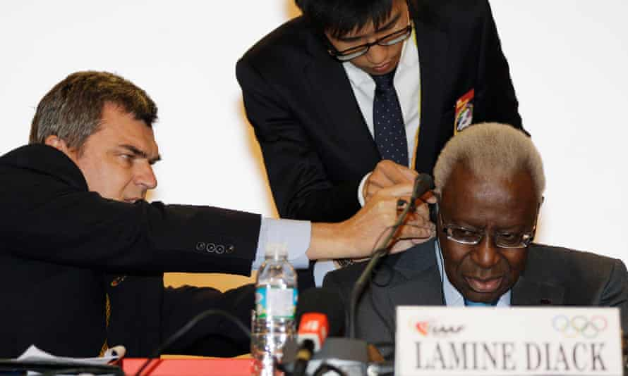 Nick Davies, left, confronted the then IAAF president, Lamine Diack, last December.