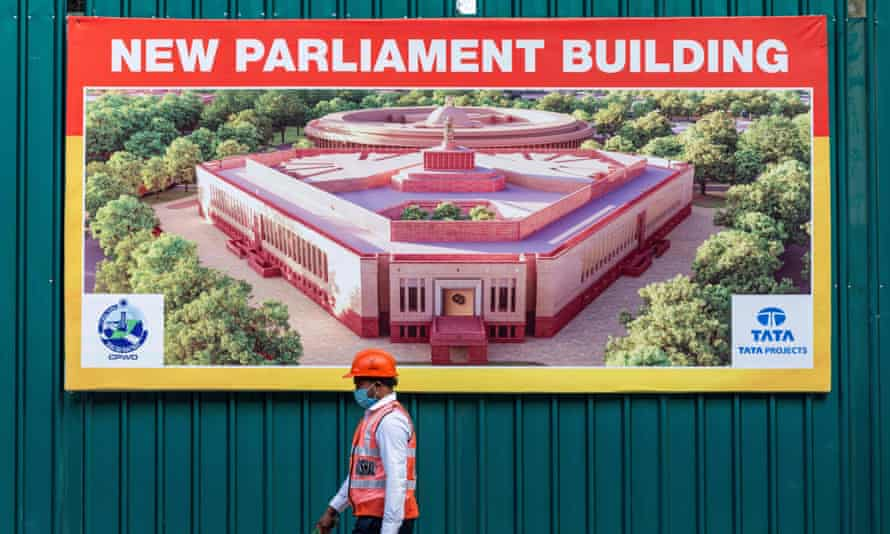 New Indian Parliament House construction site in 2020.