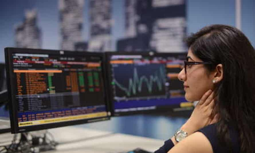 An accounting student in the university's Bloomberg Trading Room