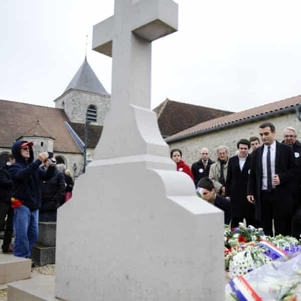Florian Philippot pays homage at the tomb of his idol, Charles de Gaulle in Colombey-les-Deux-Eglises, in 2014.