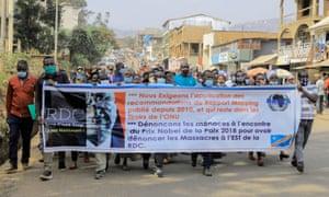 Protesters march in support of Denis Mukwege in Bukavu,  eastern Democratic Republic of Congo.