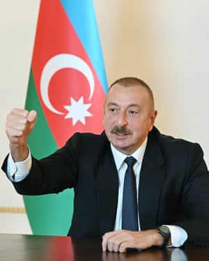 Azerbaijan's president, Ilham Aliyev, address the nation in Baku
