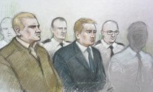 Mikko Vehvilainen and Mark Barrett (centre) on trial