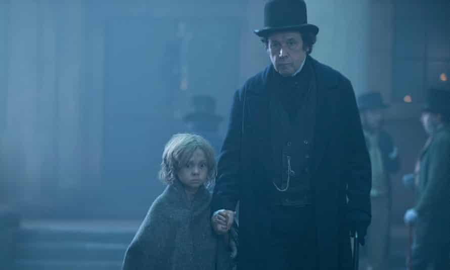 Stephen Rea as Inspector Bucket with Leonardo Dickens as Oliver Twist
