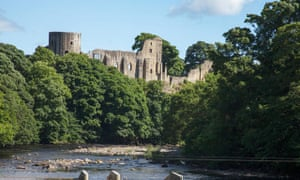 Barnard Castle above the River Tees in County Durham.