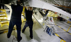 A starboard wing being fixed at the Broughton factory in north Wales.