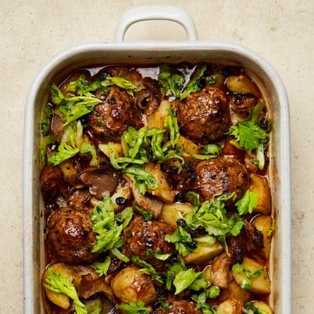 Yotam Ottolenghi's meatball and mushroom traybake with celery salsa
