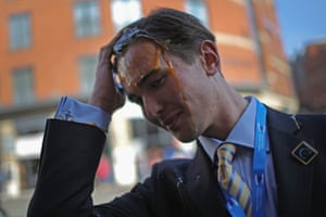 A young Tory delegate is hit by an egg as he arrives for the first day of the Conservative party autumn conference in 2015.