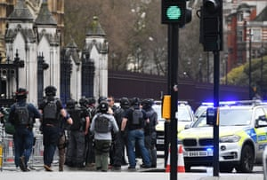 Armed police react outside parliament in London