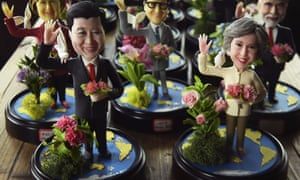 Xi Jinping and Theresa May feature among models of G20 leaders at a shop in Hangzhou, ahead of the summit there.