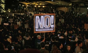 Protestors against a scheduled speaking appearance by Milo Yiannopoulos fill Sproul Plaza on the University of California at Berkeley campus in 2017.