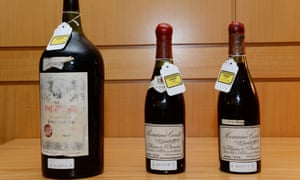 Spot the difference: three bottles of wine used as evidence in Rudy Kurniawan's trial. The magnum dates from a time when magnums were not available