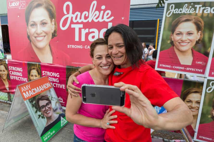 Jackie Trad (left) poses for a photo with a voter at a polling station at West End state school in Brisbane in November 2017.