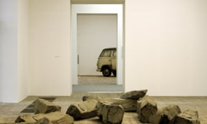 The End of the Twentieth Century 1983-5 (foreground) and The Pack, 1969 (background), both by Beuys. Photograph: Dan Chung for the Guardian