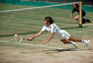 Ilie Nastase stretches for the ball in 1976