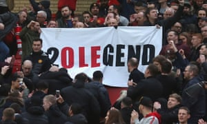 Manchester United fans display a banner honouring caretaker manager Ole Gunnar Solskjaer after their FA Cup third round win.