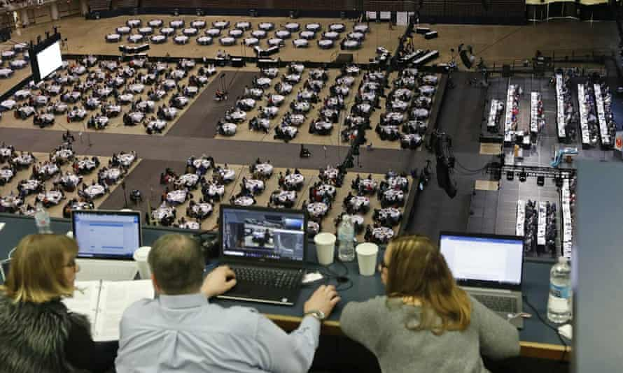 Media staff observe discussions and voting at the general conference of the United Methodist Church at America's Center in St Louis, in February 2019.