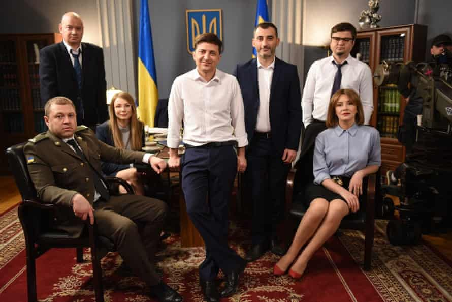 Still from Servant of the People, the satirical comedy show starring Volodymyr Zelenskiy in the lead as the Ukrainian president.