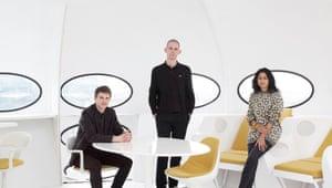 British pavilion curators (l-r) Finn Williams, Jack Self and Shumi Bose at Futuro House on top of Central Saint Martins, London.