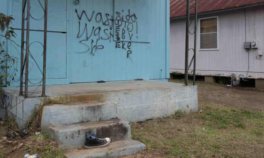 A graffiti-tagged building in Selma.
