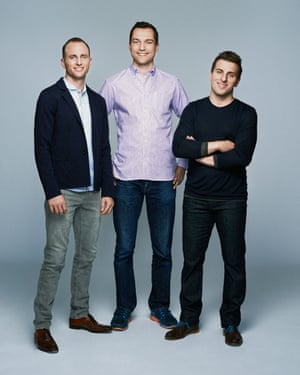 Joe Gebbia, Nathan Blecharczyk (centre) with co-founders Joe Gebbia and Brian Chesky.
